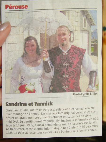 Article de journal sur le mariage